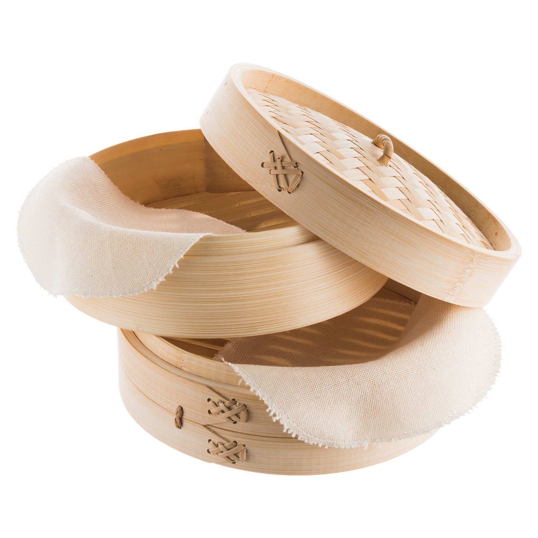 Reishunger Bambusdämpfer, inkl. 2 Baumwolltücher